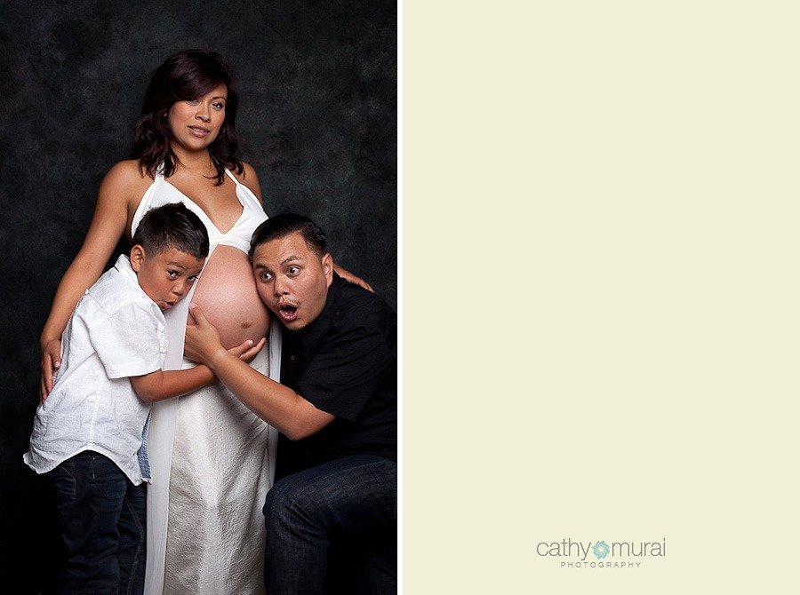 Funny Family Portrait Father And Son Listening To Belly During Maternity Session4