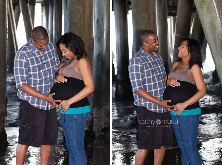 couple maternity photo at Santa Monica Beach, Los Angeles