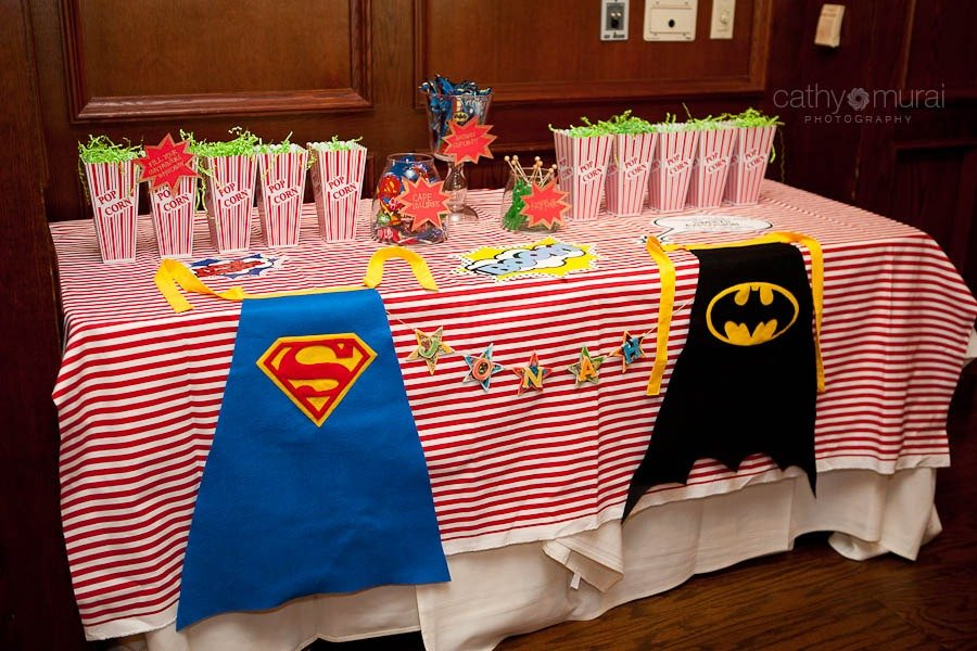 Candy Bar, Candy table, Candy Buffet at Superhero First Birthday Party - Maggiano
