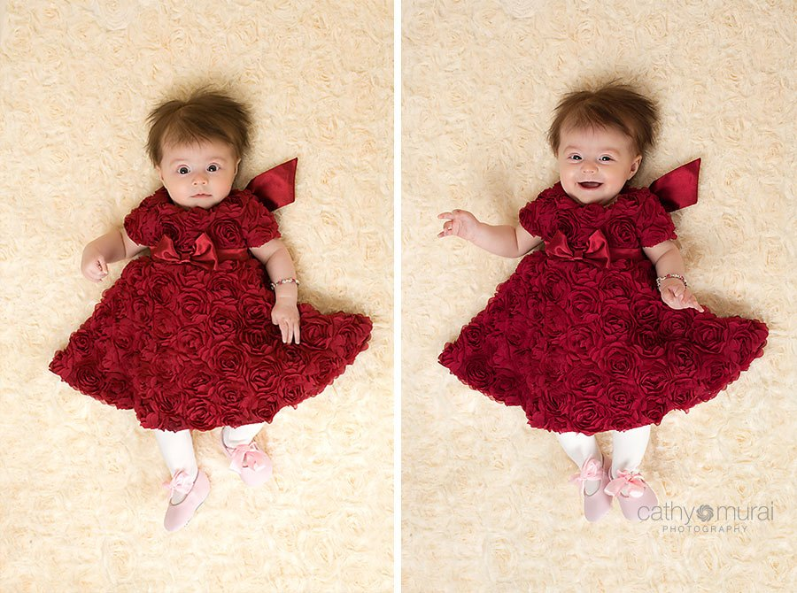 3 months old baby girl wearing a beautiful Valentine