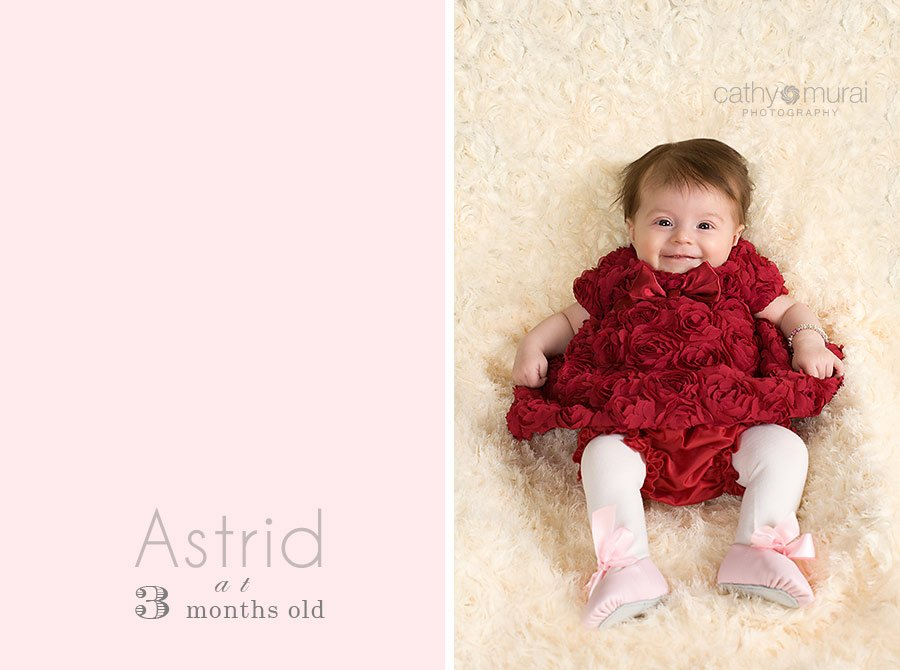 Adorable baby girl at 3 months wearing a beautiful Valentine