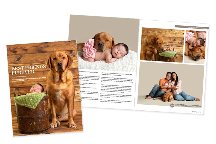 Featured in photography magazine - Newborn and Pet Portrait Sessions photographed in Alhambra studio by San Gabriel Valley Newborn Photographer, Cathy Murai Photography