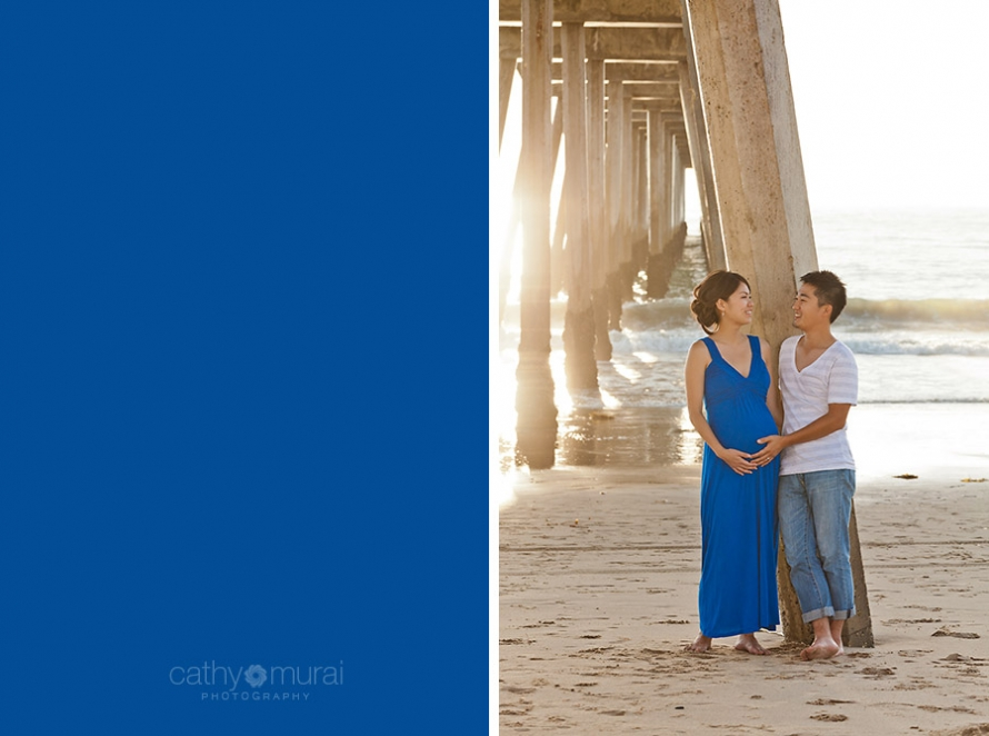 Adorable and sweet couple looking at each other and smiling at Manhattan Beach during maternity portrait session, mama-to-be, parents-to-be, blue maternity dress, Los Angeles Maternity photographer, Beach Session, Beach  Maternity Portrait Session, Maternity Session at Beach, Cathy Murai Photography