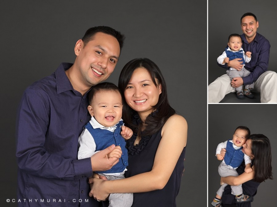 Family Portrait with one year old birthday boy, first birthday baby boy held by his mother and father, 1st birthday, family photo, family picture, family portrait, Los Angeles baby photographer, Cathy Murai Photography