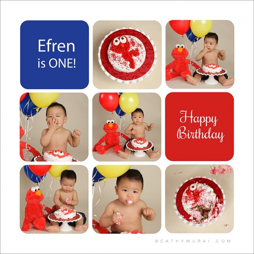 elmo cake,  elmo smash cake, first birthday portrait, first birthday photo session, smash cake, cake smash, smash cake session, smash cake photo session, cake smash session, cake smash photo session, one year old birthday boy, first birthday baby boy, 1st birthday, story board, storyboard, blue, red, yellow, balloons, Los Angeles baby photographer, Cathy Murai Photography
