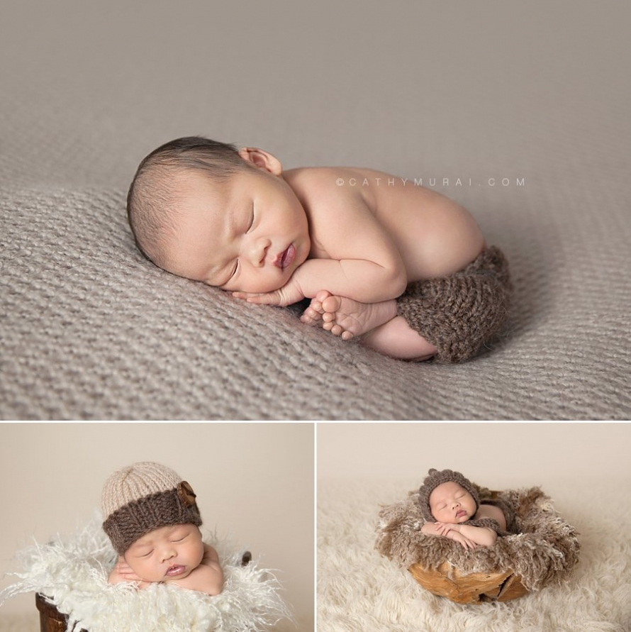 Newborn Baby Boy with brown hat and brown pants posing, captured by Cathy Murai Photography, los angeles newborn photographer, alhambra newborn photographer, san gabriel valley newborn photographer