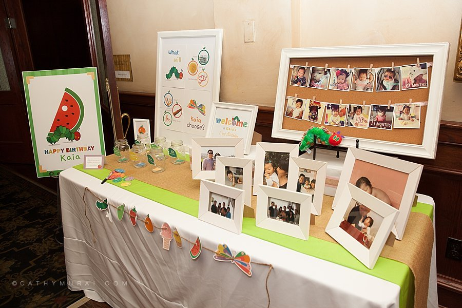 Welcome Table at Korean Dohl, Dohl Janchi, Korean Dol, First Birthday Party, Very Hungry Caterpillar First Birthday Party (Korean Dol) at Maggiano