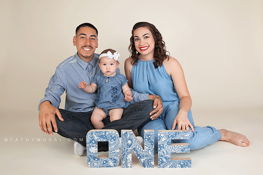 Alhambra San Gabriel San Marino Pasadena first Birthday Photographer Family photographer Family of three wearing denim clothes for family portrait session