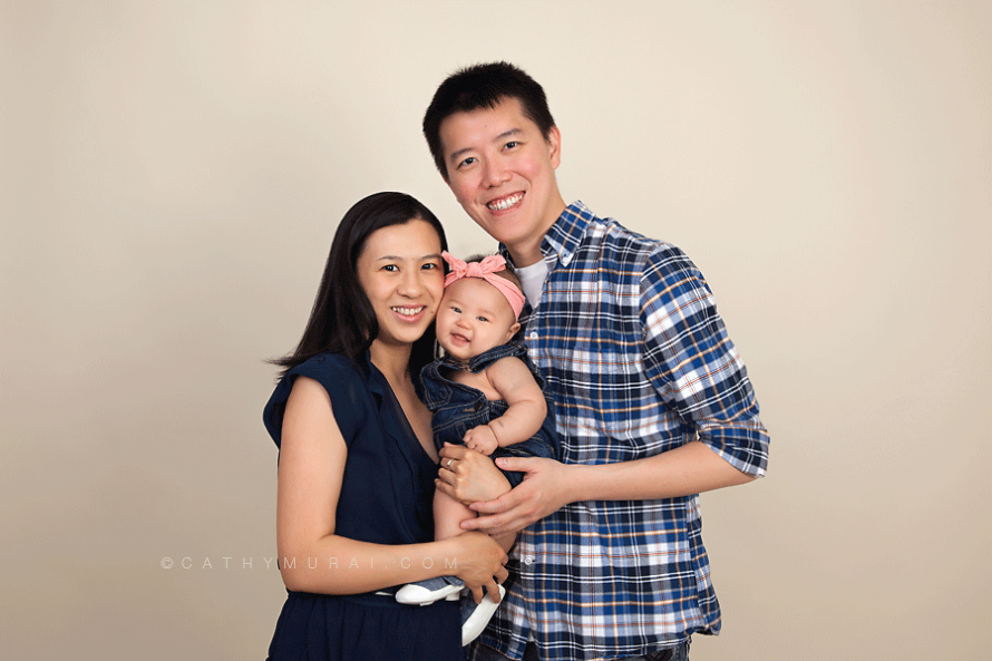 Family portrait during 3 month old baby studio session