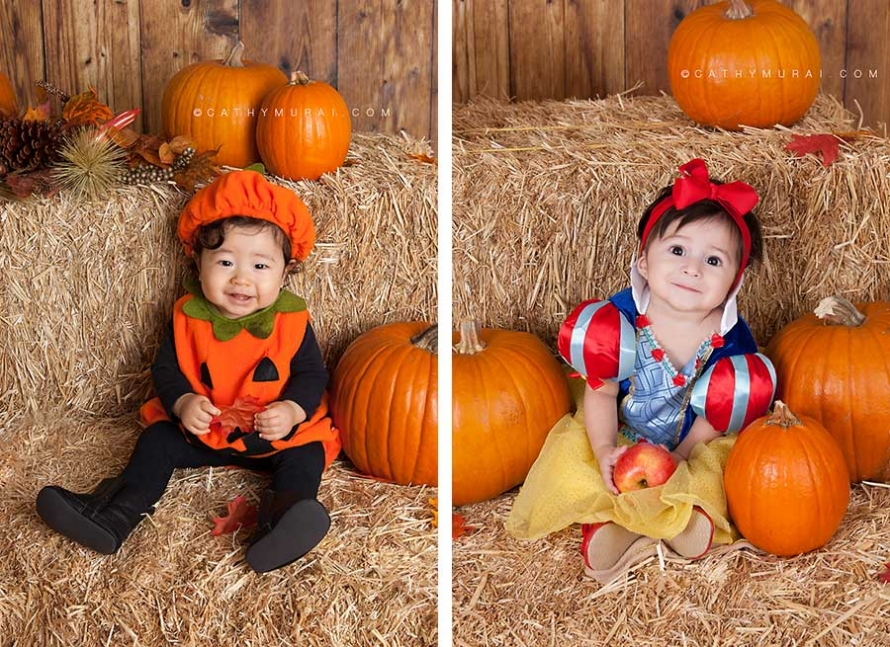 baby in pumpkin, baby in snow white, Happy Halloween, Los Angeles Halloween Photographer, Halloween Mini Session, Hay and pumpkins, fall leaves