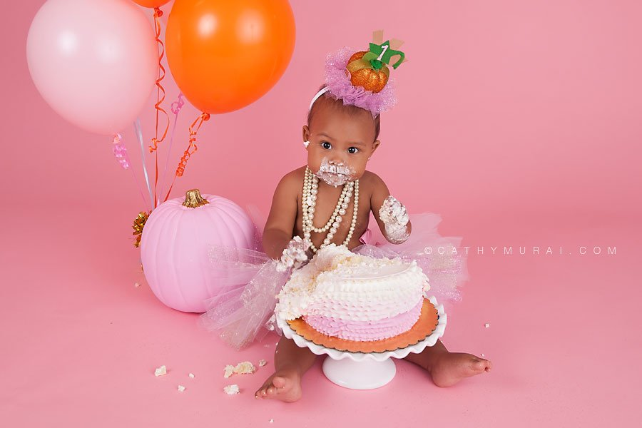 Pink Pumpkin Patch Themed Birthday Cake Smash Session Los Angeles