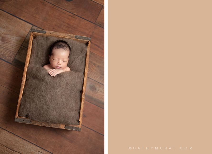 Newborn baby boy sleeping witha wool blanket in the vintage wooden box, Los Angeles Newborn Photographer, Alhambra newborn photographer, San Gabriel Valley newborn photographer, newborn picture, newborn image, newborn portrait, newborn studio photography, newborn photography, Cathy Murai Photography