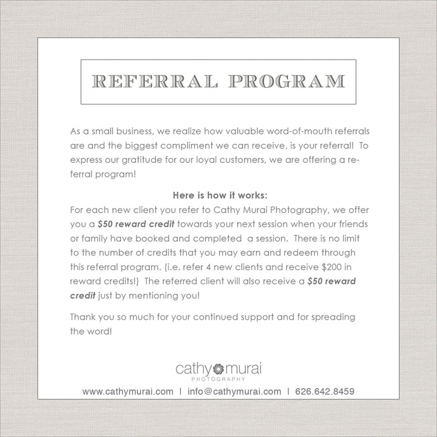 Cathy Murai Photography Referral Program