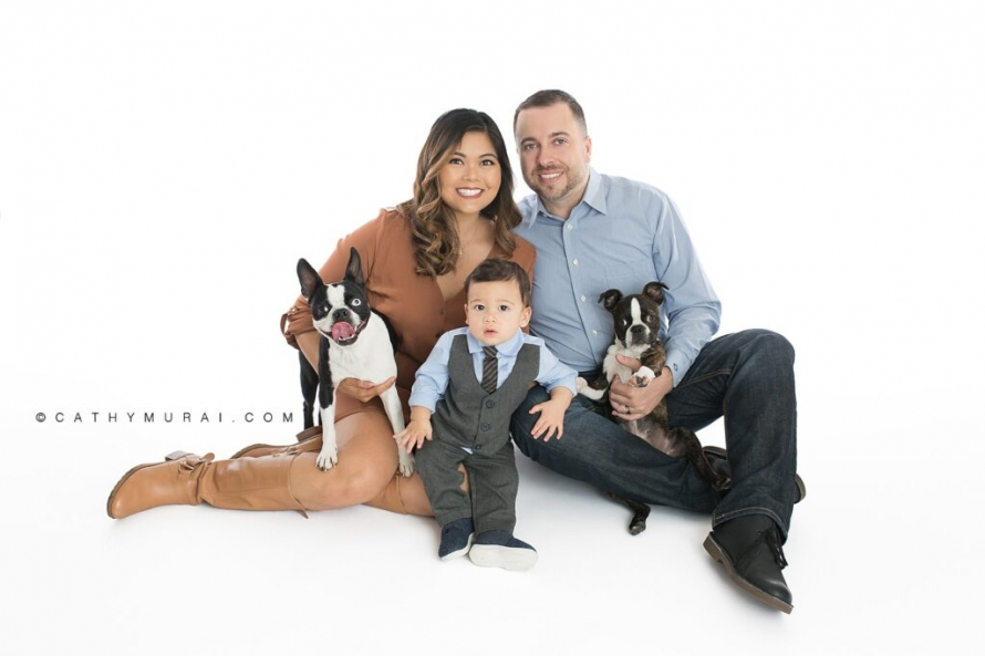 First birthday portrait including family and dogs / pets during his first birthday photoshoot with Cathy Murai Photography, a Irvine baby photographer