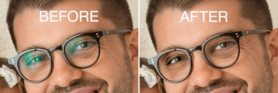 Retouching the glare on glasses. How Cathy Murai Photography removed glare from glasses