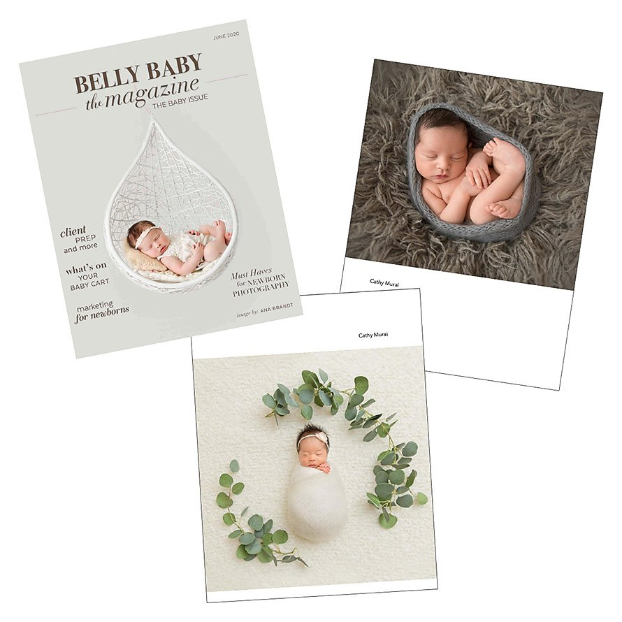 Published images of newborn portraits captured by Cathy Murai Photography on Ana brand
