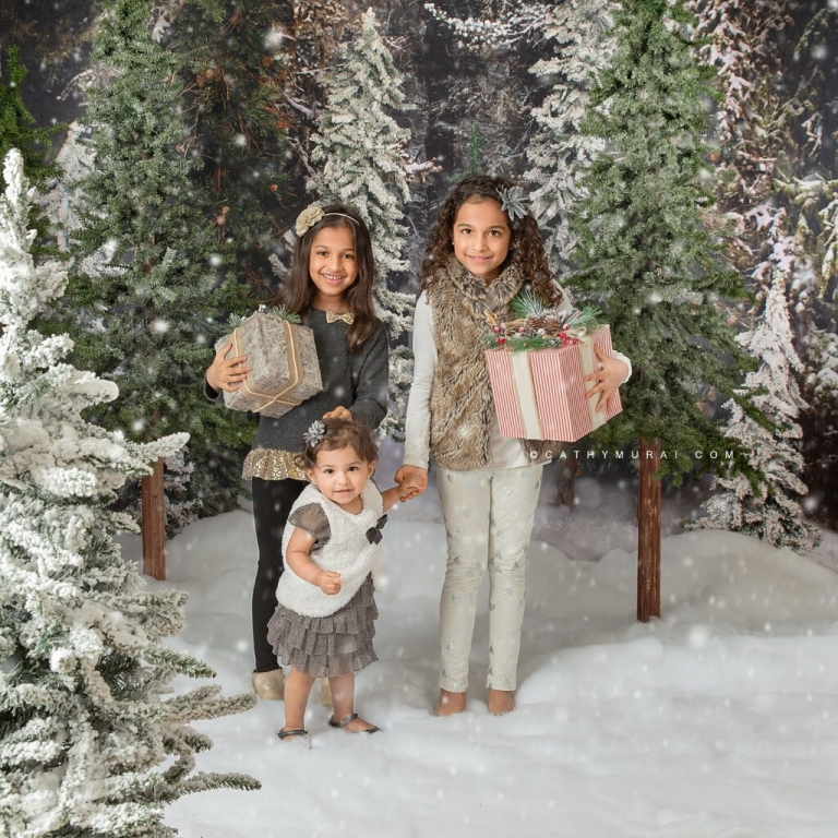 2020 Holiday mini sessions Orange County let it snow -  Holiday mini photo sessions near me, Holiday mini sessions near me, 2020 Christmas Mini Sessions - Siblings holiday photo in a winter snowfall Christmas tree farm set up in studio in Irvine, CA