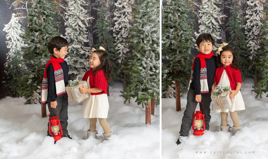 Holiday mini photo sessions near me Cathy Murai Photography captured these adorable siblings portraits during holiday mini sessions in Orange County. 2020 Christmas mini photo session in Irvine, CA
