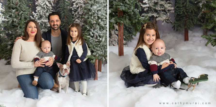 Holiday mini photo sessions near me Cathy Murai Photographycaptured this beautiful family including a baby and a dog as well as the siblings riding on the sleigh during the holiday mini sessions in Irvine, CA (orange county). 2020 Christmas mini photo session