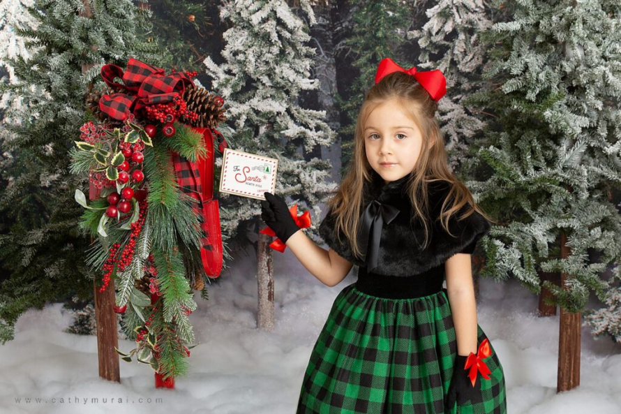 Holiday mini photo sessions near me Cathy Murai Photographycaptured this adorable girl sending out a letter for Santa during holiday mini sessions in Orange County. 2020 Christmas mini photo session in Irvine, CA