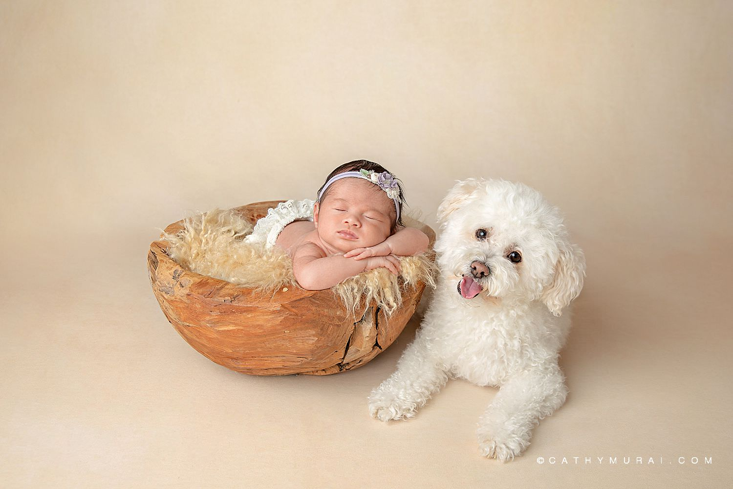 Newborn baby girl wearing a floral headband and white diaper cover sleeps in a wooden bowl on a tan furry blanket next to a white fluffy dog that smiles at the camera.